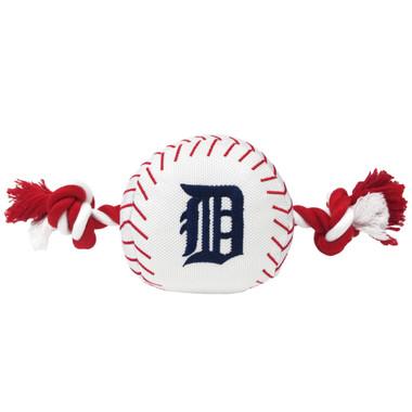 Detroit Tigers Nylon Rope Baseball Squeaker  Dog Toy