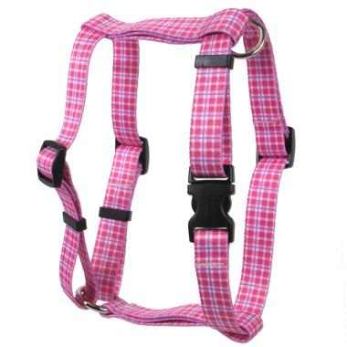 Preppy Plaid Pink Roman Style H Dog Harness