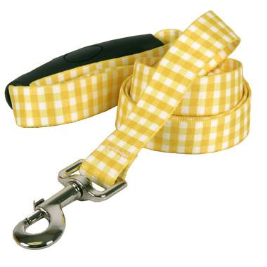 Southern Dawg Gingham Yellow Premium Dog Leash