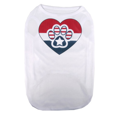 Patriotic Paws and Heart Pet T-Shirt