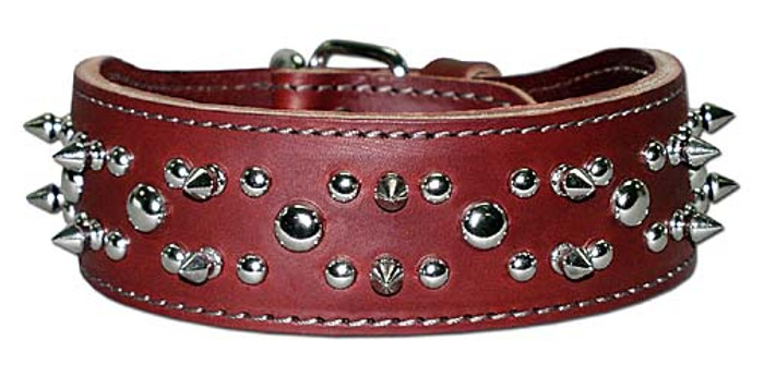 Red Leather Spiked Dog Collar