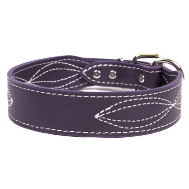 purple Figure Eight Stitched Name Plate Leather Dog Collar