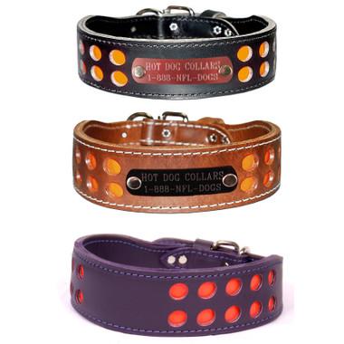 2 Row Reflective Leather Name Plate Dog Collar