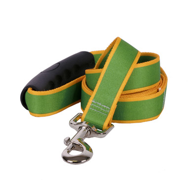 Sterling Stripes Kelly Green and Goldenrod Dog Leash