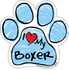 I Love My Boxer BLUE Scribble Paw Magnet