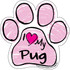 I Love My Pug PINK Scribble Paw Magnet