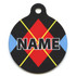 Red Argyle HD Pet ID Tag
