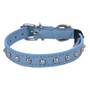 blue Studded Leather Cat Collar