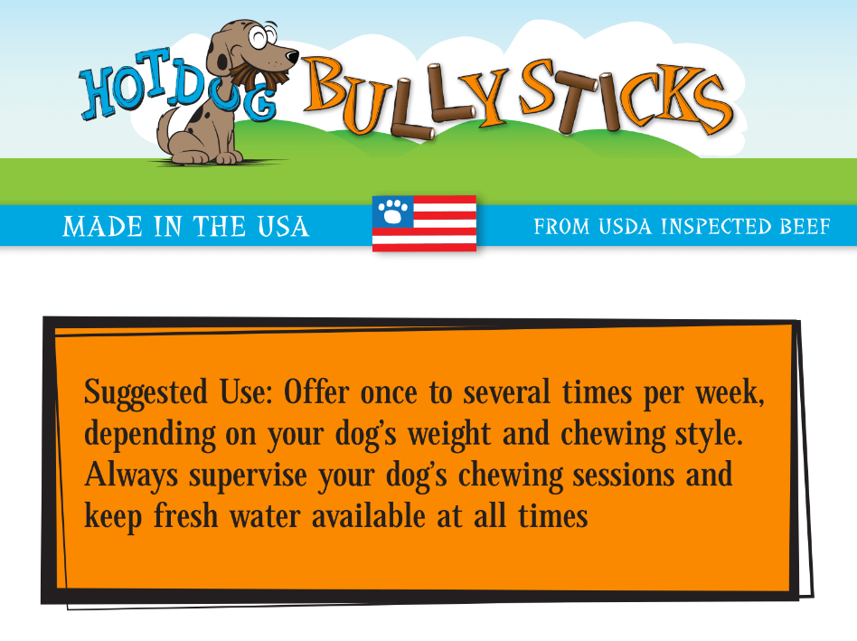 6 inch hot dog bully stick buy now at hot dog collars. Black Bedroom Furniture Sets. Home Design Ideas