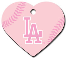 PINK LA Dodgers Engraved Pet ID Tag