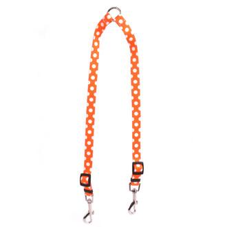 Tangerine Polka Dot Coupler Dog Leash