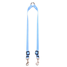 Gingham Blue Coupler Dog Leash