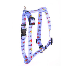 """Sailboats and Lighthouses Roman Style """"H"""" Dog Harness"""