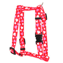 "Red Hearts Roman Style ""H"" Dog Harness"