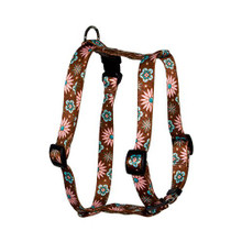 "Pink and Teal Flowers Roman Style ""H"" Dog Harness"