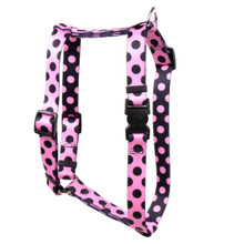 "Pink and Black Polka Dot Roman Style ""H"" Dog Harness"