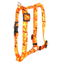 "Orange Camo Roman Style ""H"" Dog Harness"