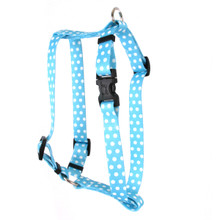 "New Blue Polka Dot Roman Style ""H"" Dog Harness"