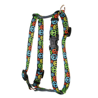 """Neon Peace Signs Roman Style """"H"""" Dog Harness"""