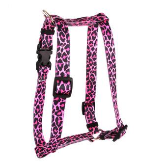 "Leopard Pink Roman Style ""H"" Dog Harness"
