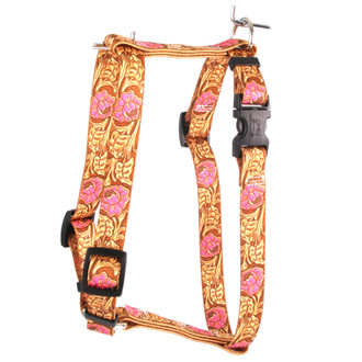 "Leather Rose Pink Roman Style ""H"" Fabric Dog Harness"