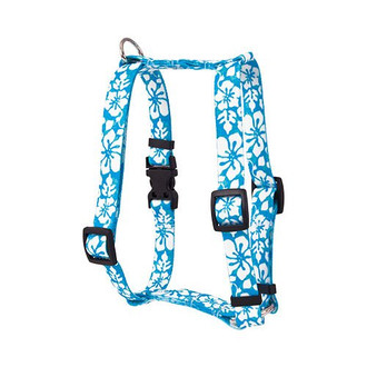 "Island Floral Blue Roman Style ""H"" Dog Harness"