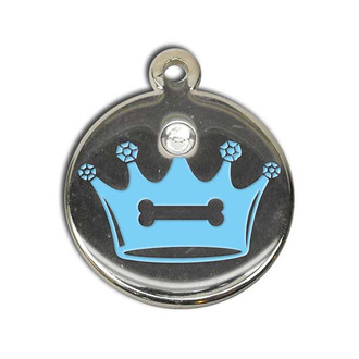 Crystal Crown Pet ID Tag - With Engraving