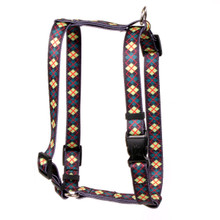 "Green Argyle Roman Style ""H"" Dog Harness"