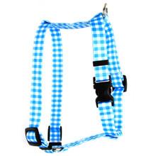 "Gingham Blue Roman Style ""H"" Dog Harness"