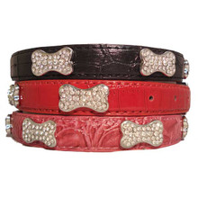 Faux Crocodile Skin Crystal Bones Dog Collar
