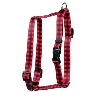 "Buffalo Plaid Red Roman Style ""H"" Dog Harness"