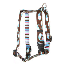 "Brown Paisley Roman Style ""H"" Dog Harness"