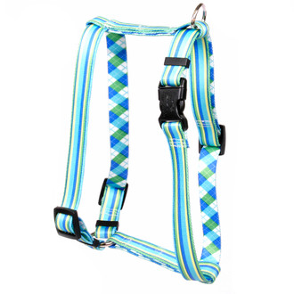 """Blue and Green Stripes Roman Style """"H"""" Dog Harness"""