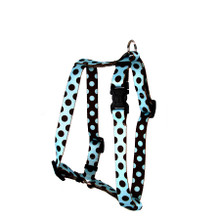 "Blue and Brown Polka Dot Roman Style ""H"" Dog Harness"