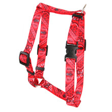 "Bandana Red Roman Style ""H"" Dog Harness"