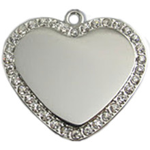 Crystal Heart Engraved Pet ID Tag - LIFETIME GUARANTEE