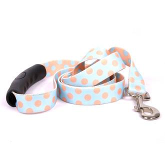 Blue and Melon Polka Dot EZ-Grip Dog Leash