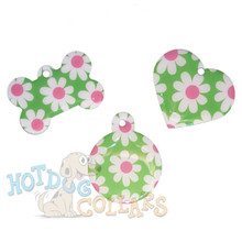 HyperLite Pink and Green Daisy Engraved Pet ID Tag