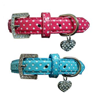 Leather Polka Dot & Crystal HEART Dog Collar