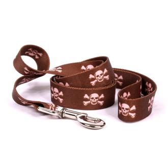 Brown and Pink Skulls Dog Leash