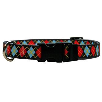 Red Argyle Dog Collar