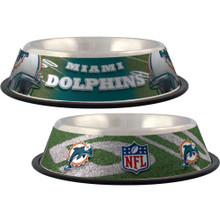 Miami Dolphins Stainless Steel NFL Dog Bowl