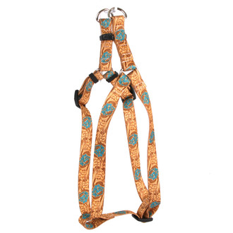 Leather Rose Teal Step-In Fabric Dog Harness