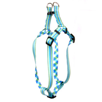 Blue and Green Stripes Step-In Dog Harness