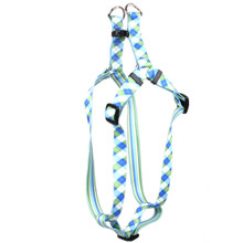 Blue and Green Argyle Step-In Dog Harness
