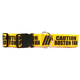 2 Inch - Caution Boston Fan Dog Collar