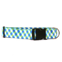 2 Inch Wide  Blue and Green Argyle Dog Collar