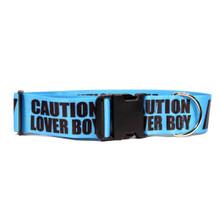 2 Inch - Caution Lover Boy Dog Collar
