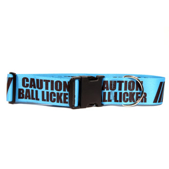 2 Inch - Caution Ball Licker Dog Collar