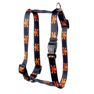 "Orange and Black Skulls Roman Style ""H"" Dog Harness"